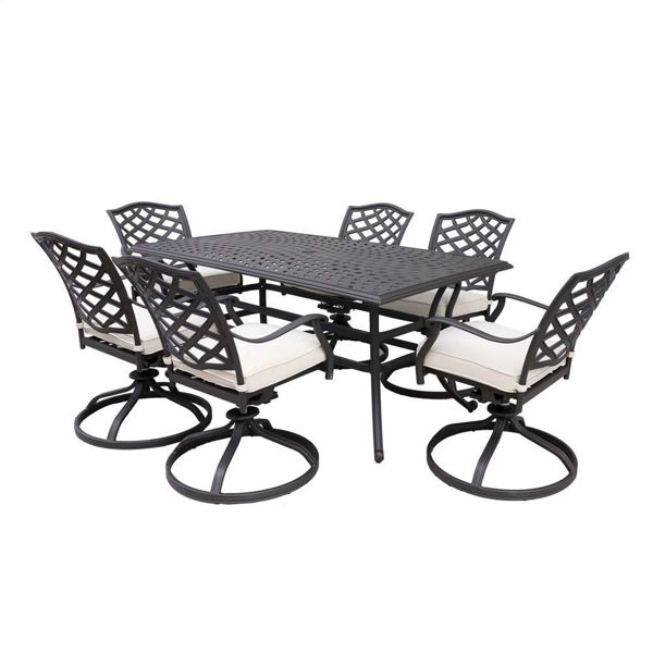 paseo 7 piece outdoor dining set with swivel chairs