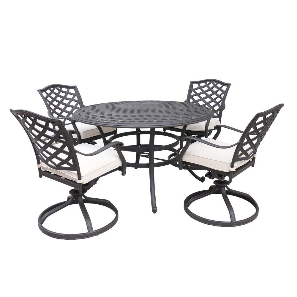 paseo 5 piece outdoor round dining set with swivel chair