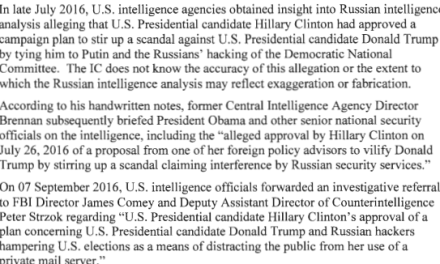 "BREAKING: U.S. Intelligence referred Clinton campaign to FBI and alleged that it concocted the ""Russian Collusion"" narrative"