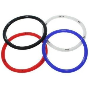 Joy, Faith, Hope, Love Silicone Bracelet (Package of 4)