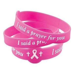 I Pray for You Breast Cancer Silicone Bracelet Pink
