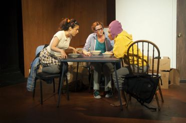 """1 2 3"" by Lila Rose Kaplan, at San Francisco Playhouse through Sept. 5. Pictured: Jeremy Kahn, Jessica Bates, and Tristan Cunningham. (Photo by Fei Cai)"