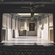"""Don Carlos,"" Shakespeare Theatre, 2001. ¼˝ model. Panels, often with doors embedded in them, slid in from the sides and could alter the depth of the stage."