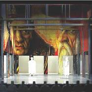 """Lorenzaccio,"" Shakespeare Theatre, 2005, ¼˝ model of the great hall with the faces of St. Jerome and St. Augustine from the Crivelli painting looming over the set."