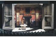 """""""Romeo and Juliet,"""" Actors Theatre of Louisville, 1994, 1/4'' model. The shop did not have a scene painter so the canvas for the flats was sent to New Haven where Ru-Jun Wang, a master scenic artist trained at the Central Academy of Drama in Beijing, executed the design and sent it back to Louisville to be reassembled."""