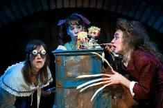 "Liz Schachterle, Tara Loeper and Noah Sommers Haas in Michael Sommers, Josef Evans and Eric Jensen's STRUMPLY PETER, a ""toy opera"" running through Sept. 25 at Open Eye Figure Theatre in Minneapolis"
