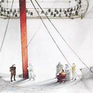 """The Tempest,"" Actors Theatre of Louisville, 1989, 1/2'' sketch of hte ship deck depicting the pre-show"