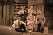 """""""The Grapes of Wrath,"""" adapted from John Steinbeck's by Frank Galati, a CityRep production running at the Oklahoma City University's Burg Theater through Oct. 5; pictured (front row) Cameron Cobb, Pam Dougherty, David Coffee, (back row) Sonny Franks and Michael Corolla (photo by Jennifer Tiffany)"""