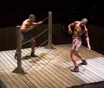 """""""The Royale"""" by Marco Ramirez, at the Old Globe in San Diego through Nov. 2; pictured: Okieriete Onaodowan and Robert Christopher Riley (photo by Jim Cox)"""