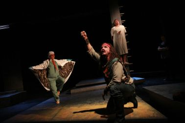 """""""Alcestis,"""" translated by Ted Hughes from Euripides, at American Players Theatre in Spring Green, Wisc. through Nov. 9; pictured: Colleen Madden, David Daniel and Brian Mani (photo by Carissa Dixon)"""