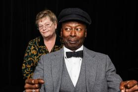 """Driving Miss Daisy"" by Alfred Uhry, at Performance Network Theatre in Ann Arbor, Mich. through Oct. 26; pictured: Nancy Kammer and James Bowen (photo by Sean Carter)"