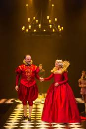 """""""Hamlet"""" by William Shakespeare, at Hartford Stage in Hartford, Conn. in 2014. Pictured: Andrew Long and Kate Forbes (photo by T. Charles Erickson)"""