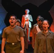 """""""Slaughterhouse Five,"""" adapted by Eric Simonson from the novel by Kurt Vonnegut, at Custom Made Theatre Company in San Francisco through Oct. 26; pictured: Sal Mattos, Stephanie Ann Foster, Dave Sikula, Chris Morrell, Sam Tillis and Jessica Rudholm (photo by Jay Yamada)"""