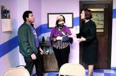"""Buzz"" by Richard Strand, at Detroit Repertory Theatre through Dec. 28; pictured: Dan Johnson, Kennikki Jones-Jones and Rita Montepetit-Liegl"