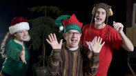 """""""Every Christmas Story Ever Told (and Then Some!)"""" by Michael Carleton, James Fitzgerald and John K. Alvarez, at Commonweal Theatre Company in Lanesboro, Minn. through Dec. 21. Pictured: Diana Jurand, Hal Cropp and Mike Swan."""