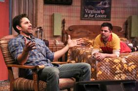 """""""Handle With Care"""" by Jason Odell Williams, at the Colony Theatre Company in Burbank, Ca. through Dec. 14. Pictured: Tyler Pierce and Jeff Marlow. (Photo by Michael Lamont)"""