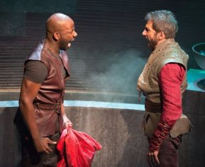 """Julius Caesar"" by William Shakespeare, at the Folger Theatre in Washington, D.C. through Dec. 7. Pictured: Maurice Jones and Michael Sharon. (Photo by Jeff Malet)"