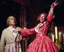 """""""A Christmas Carol,"""" adapted by Tom Creamer, at Goodman Theatre in Chicago through Dec. 28. Pictured: Larry Yando and Penelope Walker. (Photo by Eric Y. Exit)"""
