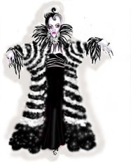 Connie Furr Soloman's costume sketch for Cruella de Vil.
