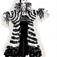 Connie Furr Soloman's costume sketch for Cruella de Vil.