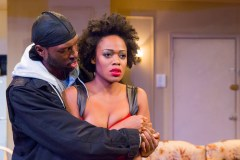 """""""Sunset Baby"""" by Dominique Morisseau, at the Kitchen Theatre in Ithaca, N.Y. through Dec. 21. Pictured: Alexander Thomas and Gillian Glasco. (Photo by Dave Burbank)"""