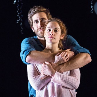 """Constellations"" by Nick Payne, at the Manhattan Theatre Club's Samuel J. Friedman Theatre through Feb. 15. Pictured: Jake Gyllenhaal and Ruth Wilson."
