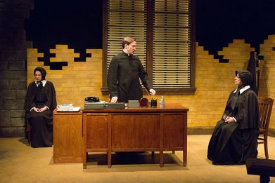 """""""Doubt"""" by John Patrick Shanley, at the Lantern Theatre Company in Philadelphia through Feb. 15. Pictured: Clare Mahoney, Ben Dibble and Mary Martello. (Photo by Mark Garvin)"""