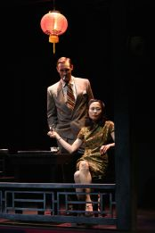 """""""Film Chinois"""" by Damon Chua, a Pan Asian Repertory Theatre production at the Beckett Theatre in New York City through Feb. 8. Pictured: Benjamin Jones and Rosanne Ma. (Photos by John Quincy Lee)"""