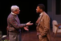 """""""Guess Who's Coming to Dinner,"""" adapted by Todd Kreidler from the film, at Repertory Theatre of St. Louis through Feb. 1. Pictured: Anderson Matthews and Richard Prioleau. (Photo by Jerry Naunheim Jr.)"""