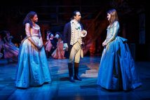 """""""Hamilton"""" by Lin-Manuel Miranda, at The Public Theater in New York City through Apr. 5. Pictured: Renee Elise Goldsberry, Lin-Manuel Miranda and Phillipa Soo. (Photo by Joan Marcus)"""