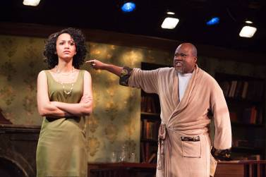 """""""Knock Me a Kiss"""" by Charles Smith, at the Westcoast Black Theatre Troupe in Sarasota, Fla., through Feb. 8. Pictured: Emerald Rose Sullivan and E-Mani Cadet. (Photo by Don Daly)"""