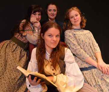 """Little Women,"" adapted by Emma Reeves from Louisa May Alcott, at Cincinnati Shakespeare Company through Mar. 21. Pictured: Maggie Lou Rader, Kelly Mengelkoch, Courtney Lucien, Annie Fitzpatrick and Caitlin McWethy. (Photo by Cal Harris)"