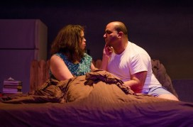 """""""References to Salvador Dalí Make Me Hot"""" by José Rivera, at Single Carrot Theatre in Baltimore through Feb. 8. Pictured: Jessica Murphy Garrett and Kaveh Haerian. (Photo by Britt Olsen-Ecker)"""