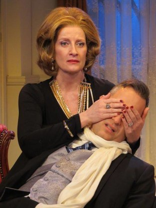 """""""Swimming at the Ritz"""" by Charles Leipart, at New Jersey Repertory Company in Long Branch, N.J., through Feb. 1. Pictured: Judith Hawking and Christopher Daftsios. (Photo by SuzAnne Barabas)"""