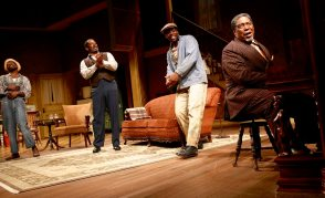 """The Piano Lesson"" by August Wilson, a coproduction of Syracuse Stage and Seattle Repertory Theatre, running in Seattle through Feb. 8. Pictured: Stephen Tyrone Williams, Derrick Lee Weeden, Yaegel T. Welch and G. Valmont Thomas. (Photo by Michael Davis)"