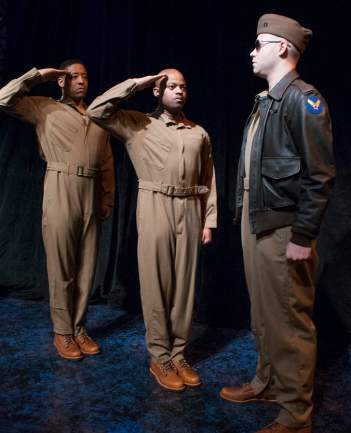 """Fly"" by Trey Ellis and Ricardo Khan, at Florida Studio Theatre in Sarasota, Fla., through Apr. 4. Pictured: Terrell Wheeler, Shane Taylor and Greg Brostrom. (Photo by Maria Lyle)"
