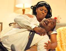 """Junene K and W. Jerome Stevenson in Katori Hall's """"The Mountaintop,"""" at Oklahoma City Rep in Oklahoma City, Okla. in 2015. (Photo by Mutz Photography)"""