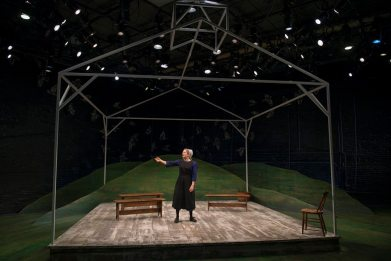 """""""The Amish Project"""" by Jessica Dickey, at Milwaukee Repertory Theatre through Mar. 22. Pictured: Deborah Staples. (Photo by Michael Brosilow)"""