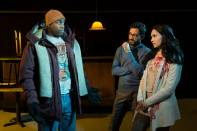 """""""The Lake Effect"""" by Rajiv Joseph, at TheatreWorks Silicon Valley in Palo Alto, Calif, through Mar. 29. Pictured: Jason Bowen, Adam Poss and Nilanjana Bose. (Photo by Kevin Berne)"""
