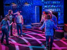 """Tribes"" by Nina Raine, at Artist Repertory Theatre in Portland, Ore., through Mar. 1. Pictured: Kayla Lian, Joshua Weinstein, Stephen Drabicki, Amy Newman, Michael Mendelson and Linda Alper. (Photo by Owen Carey)"