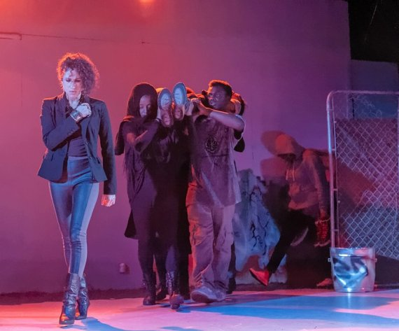 """""""Xtigone,"""" adapted by Nambi E. Kelley from the Sophocles, an African-American Shakespeare Company production at the Buriel Clay Theatre in San Francisco through Mar. 8. Pictured: Naima Shalhoub and chorus. (Photo by Lance Huntley)"""