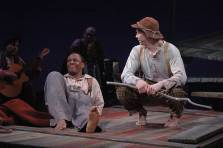 """""""Huck Finn,"""" adapted by Greg Banks from Mark Twain, at Children's Theatre Company in Minneapolis through Apr. 4. Pictured: Ansa Akyea and Dean Holt. (Photo by Rob Levine)"""