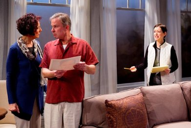 """A Body of Water"" by Lee Blessing, at Geva Theatre Center in Rochester, N.Y., through Apr. 5. Pictured: Carmen Roman, James Leaming and Lesley Gurule. (Photo by Dave Burbank)"
