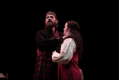"""""""Macbeth"""" by William Shakespeare, a touring parks production by Kentucky Shakespeare Festival in Louisville, Ky., through May 17. Pictured: Jon O'Brien and Abigail Bailey Maupin."""