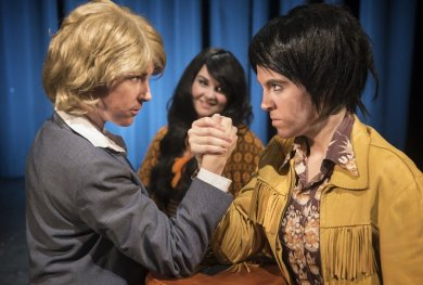 """""""The Six Gentlepersons of Verona,"""" adapted by Benjamin Victor and John Phillip Kemble from the Shakespeare, a production of Bag&Baggage Productions at the Venetian Theatre in Hillsboro, Ore., through Mar. 22. Pictured: Cassie Greer and Clara Hillier."""