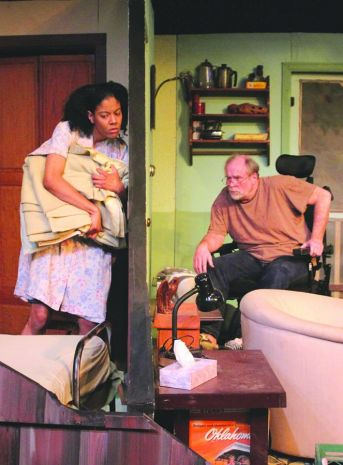 """""""The Kiss of the Sun for Pardon"""" by Lans Traverse at Detroit Repertory Theatre in 2015. Pictured: Morgan Breon and Todd Hissong."""