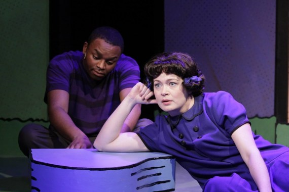 """""""You're a Good Man, Charlie Brown"""" by Clark Gesner, adapted from Charles M. Schulz, a Virginia Repertory Theatre production at Hanover Tavern in Richmond, Virg., through Apr. 19. Pictured: Durron Marquis Tyre and Aly Wepplo."""