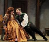 """""""The Taming of the Shrew"""" by William Shakespeare, at Cincinnati Shakespeare Company through Apr. 25. Pictured: Kelly Mengelkoch and Nicholas Rose. (Photo by Mikki Schaffner)"""