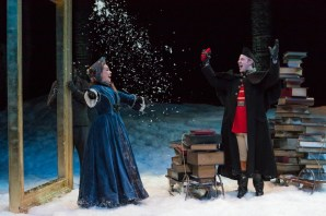 """""""A Christmas Carol"""" adapted by Tom Haas from Dickens, at Indiana Repertory Theatre in Indianapolis in 2015. Pictured: Emily Ristine and Will Mobley. (Photo by Zach Rosing)"""