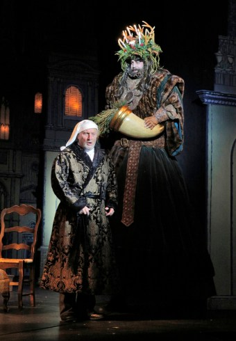 """A Christmas Carol,"" adapted by Barbra Field from Charles Dickens, at Kansas City Repertory in Kansas City, Mo., through Dec. 24. Pictured: Gary Neal Johnson and Rusty Sneary. (Photo by Cory Weaver)"